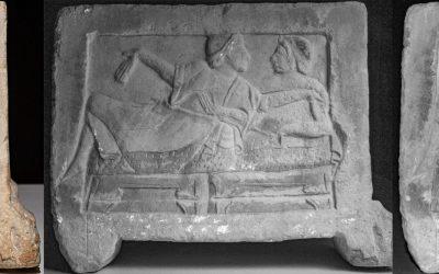 Foto multispettrale dell'urna cineraria etrusca